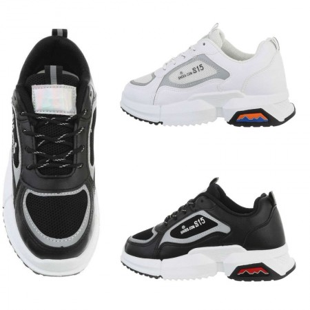 Sneakers in ecopelle sportive con parti in tela...