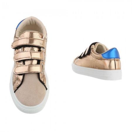 Sneakers basse casual in ecopelle laminata lucida e...