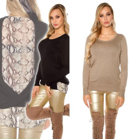 Maglione pullover maglia maglietta lunga leopardata donna...
