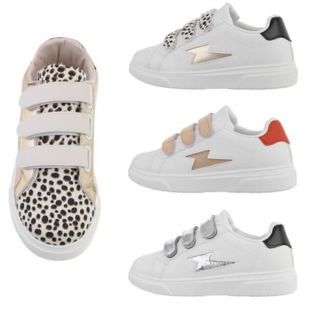 Sneakers basse casual dettagli animalier in ecopelle...
