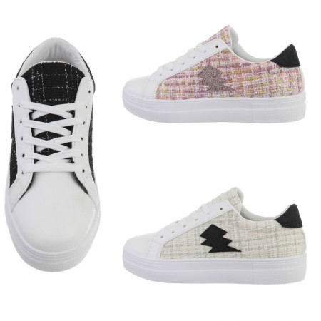 Sneakers casual in stoffa con lacci e parti in stoffa