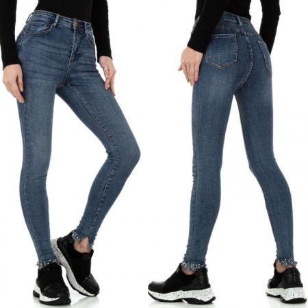 Pantaloni jeans a vita alta skinny elasticizzati denim...