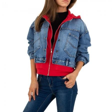 Giacca in jeans corta con felpa twin set con cappuccio...