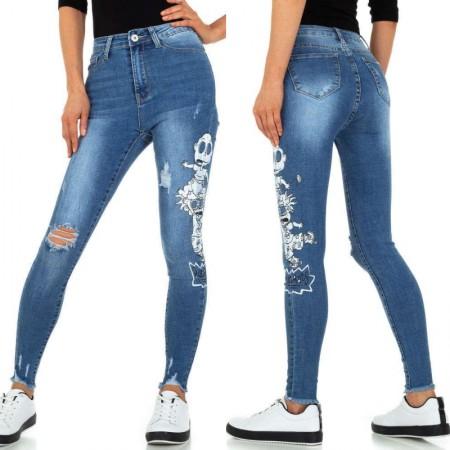 Jeans a vita alta elasticizzati effetto consumato...