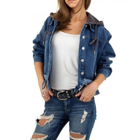 Giacca di jeans giubbino denim corto con cappuccio...