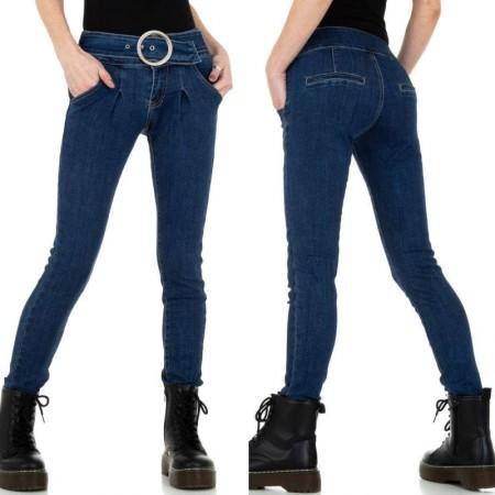 Jeans a vita alta elasticizzati con fibbia modello skinny...