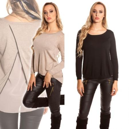 Maglia maglietta donna maglione fine chiffon glamour nero...