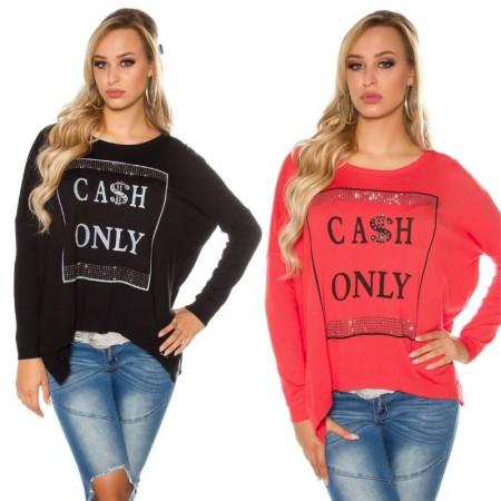 Maglia maglietta pullover maglione fine over size lunga...
