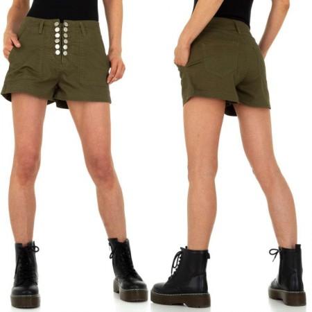 Pantaloncini cargo shorts kaki a vita alta con tasche e...