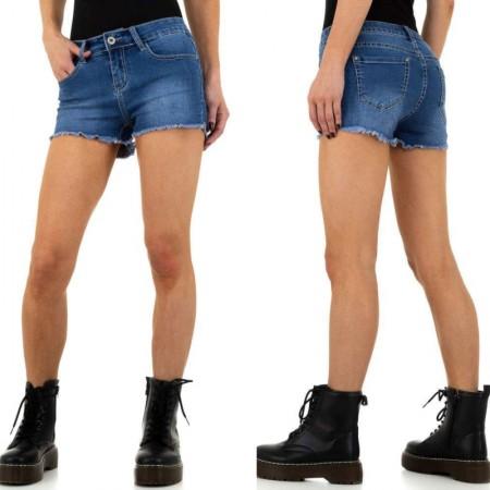 Shorts pantaloncini di jeans denim scuciti sui bordi...