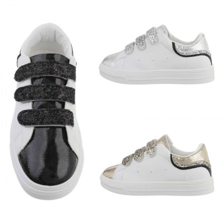 Sneakers casual basse in ecopelle con dettagli glitterati...