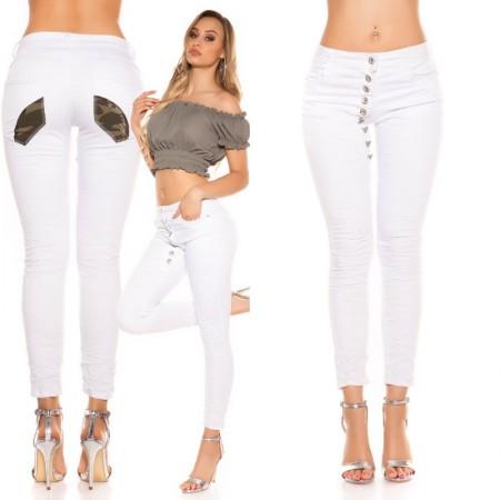 Jeans pantalone pantacollant denim vita bassa bianco...