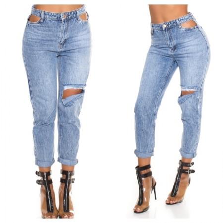 Jeans pantalone pantacollant vita alta blue denim vita...