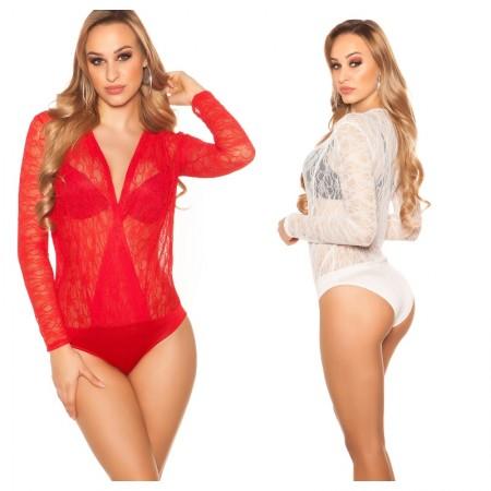 Maglia maglietta body top shirt maniche lunghe in nude...