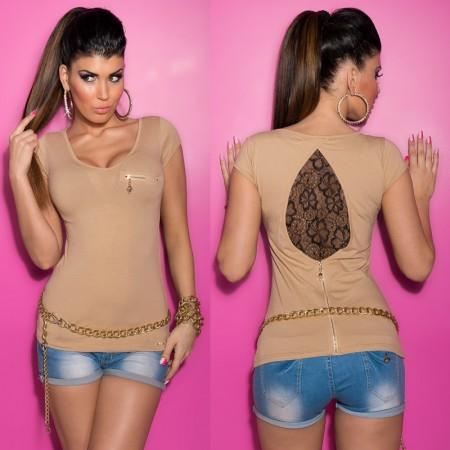 Maglia maglietta top t shirt maniche corte basic in pizzo...