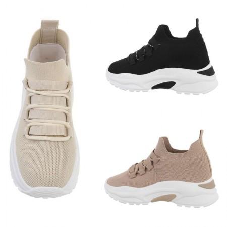 Sneakers sportive in tela elasticizzata traspiranti con...