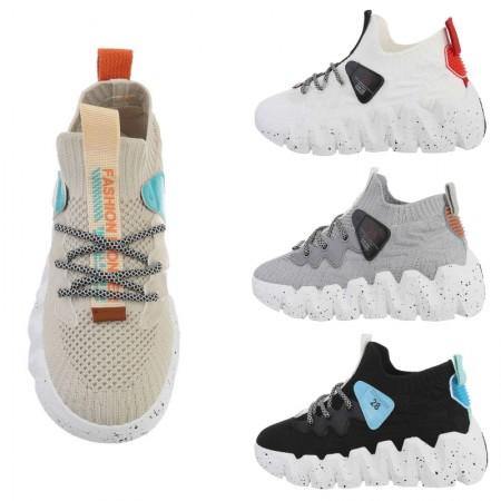Sneakers alte in tela elasticizzata a calzino con lacci e...