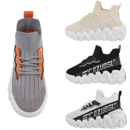 Sneakers alte alla caviglia in tela elasticizzata con...
