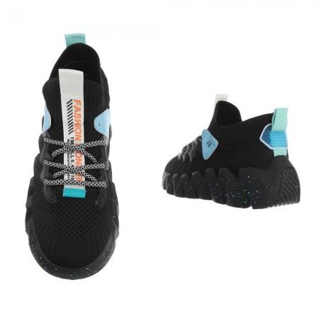 Sneakers sportive da ginnastica passeggio nere con zeppa...
