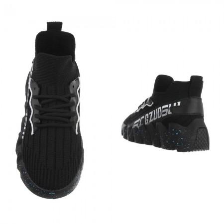 Sneakers sportive alte in tela elasticizzata nere con...