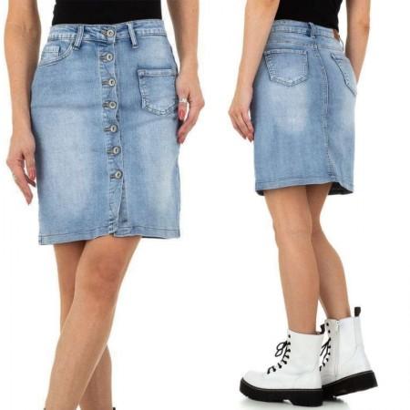 Gonna tubino in jeans chiaro denim chiusura bottoni blue...