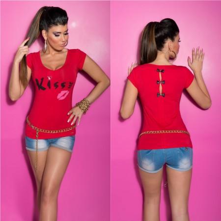 Maglia maglietta tshirt top basic casual alla moda...