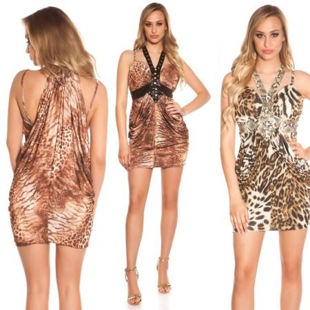 Abito vestiti tubino completo elegante dress leopardato...