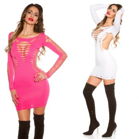 Vestito abito corto aderente sexy maniche lunghe rosa...