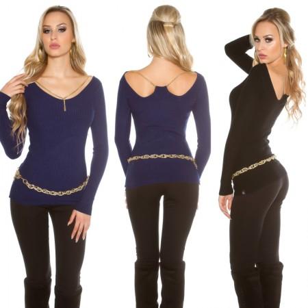 Maglione pullover aderente sexy maniche lunghe casual...
