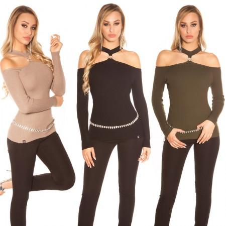 Maglione aderente sexy pullover felpa inverno maglia con...
