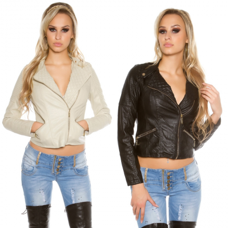 Giacca blazer sexy aderente con zip in similpelle casual...