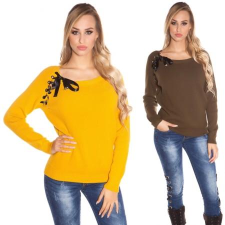 Maglione oversize sexy pullover felpa casual inverno...