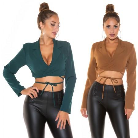 Camicia sexy blouse maniche lunghe autunno casual crop...
