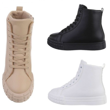 Sneakers a stivaletto in ecopelle stile anfibi stringati...