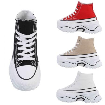 Sneakers alte in stoffa con punta in gomma zeppa alta...
