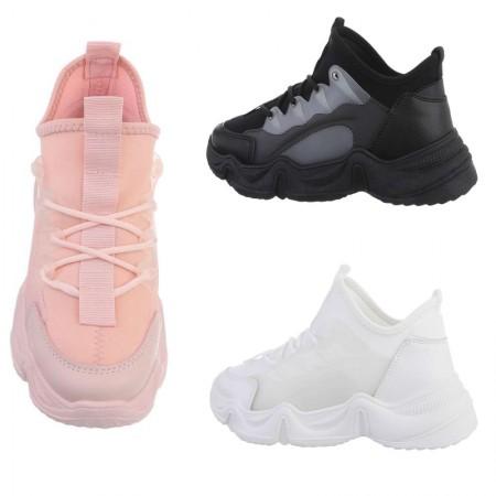 Sneakers sportive casual in tela ed ecopelle zeppa alta...