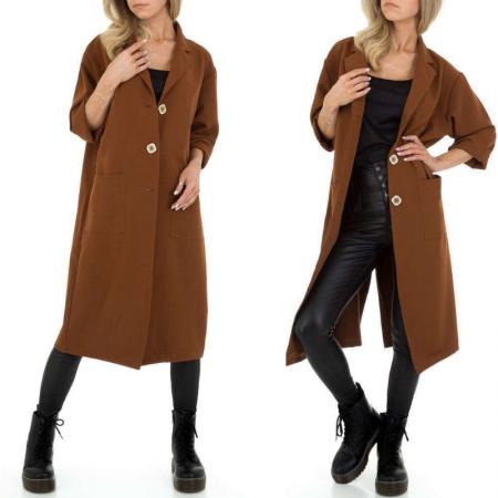Giacca trench marrone lungo con cintura cappotto casual...