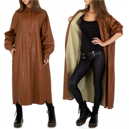 Giacca trench marrone lungo in in similpelle cappotto...