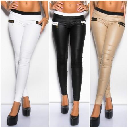 Leggings bi-colore aderente con Zip