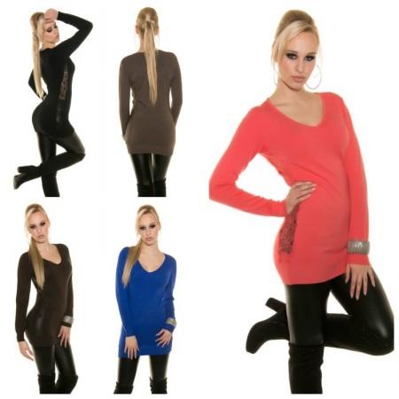 Trendy maglione invernale Lungo con dettagli Pizzo