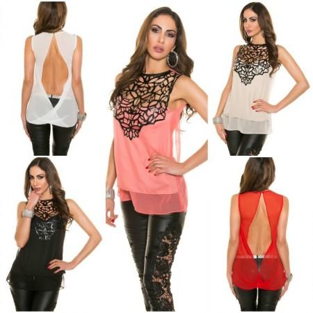 Trendy blouse con applicazioni in similpelle