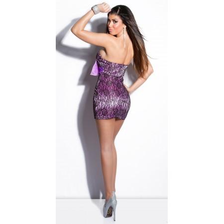 Sexy Vestitino Con Particolare Pizzo Floreale Velatato Impreziosito Da Un Fiocco E Preziosa Spilla