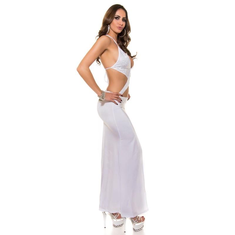 3a6864ee21c7 Sexy Vestito Lungo Ricco di Brillantini Con Pancia Scoperta e Lungo Spacco