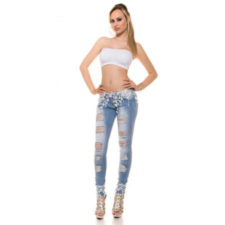 Sexy Jeans Skinny Con Ricami Floreali e Strappi Lungo la Gamba