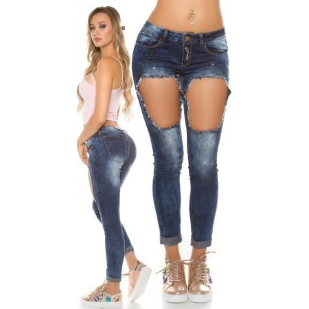 Sexy Jeans Brooklyn Koucla Con Strappi Extra Large e Brillantini Gold