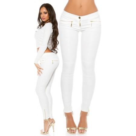 Sexy Pantalone Dafne Skinny Con Zip Gold e Similpelle Lucida Black