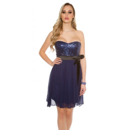 Sexy Mini Dress In Tulle Con Corpetto Di Paillettes Forma Cuore Con Fascia Fiocco Black