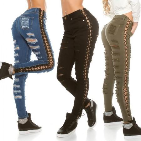 Sexy Blue Jeans Ripped Skinny Trendy Strappi Con Intreccio Black Laterale