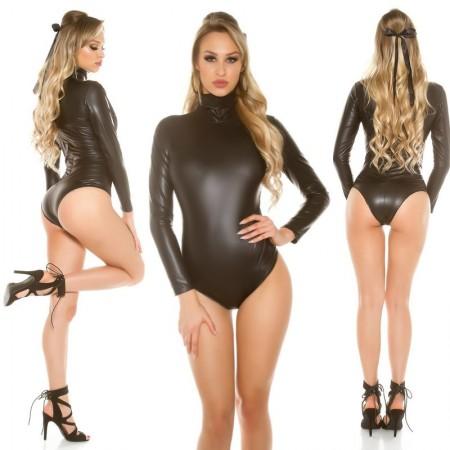 Sexy Body DolceVita Maniche Lunghe Interamente In Similpelle Total Black