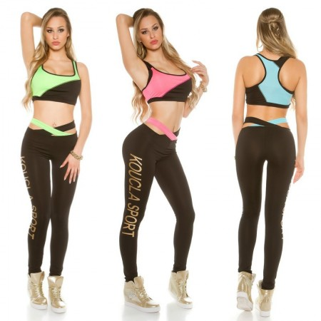 Sexy OutFit Sport Top Crop Pancia Scoperta Con Leggings Print Gold